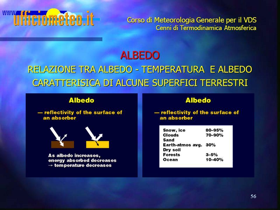 56 Corso di Meteorologia Generale per il VDS Cenni di Termodinamica Atmosferica ALBEDO RELAZIONE TRA ALBEDO - TEMPERATURA E ALBEDO CARATTERISICA DI AL