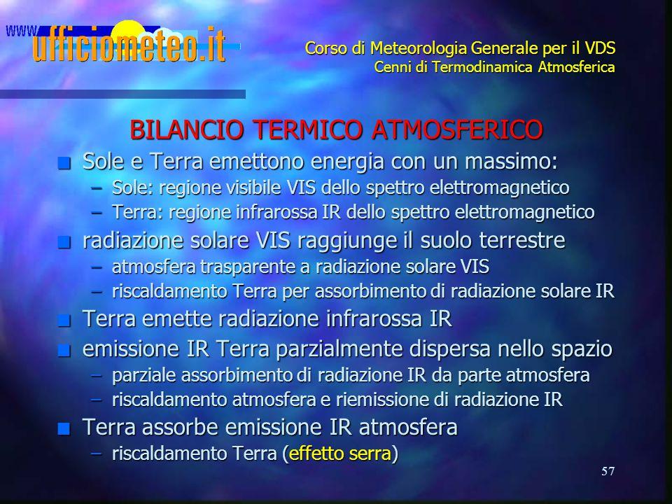 57 Corso di Meteorologia Generale per il VDS Cenni di Termodinamica Atmosferica BILANCIO TERMICO ATMOSFERICO n Sole e Terra emettono energia con un ma
