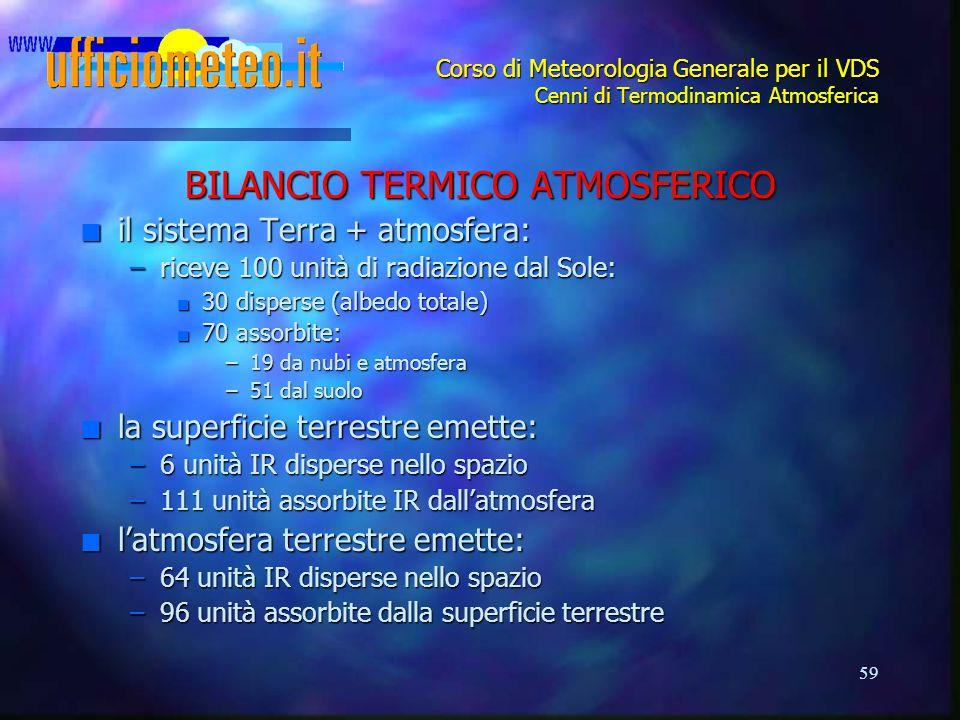59 Corso di Meteorologia Generale per il VDS Cenni di Termodinamica Atmosferica BILANCIO TERMICO ATMOSFERICO n il sistema Terra + atmosfera: –riceve 1