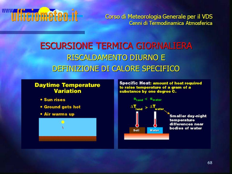 68 Corso di Meteorologia Generale per il VDS Cenni di Termodinamica Atmosferica ESCURSIONE TERMICA GIORNALIERA RISCALDAMENTO DIURNO E DEFINIZIONE DI C