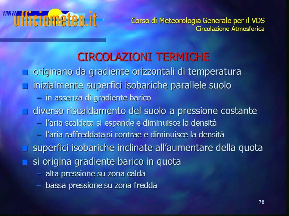 78 Corso di Meteorologia Generale per il VDS Circolazione Atmosferica CIRCOLAZIONI TERMICHE n originano da gradiente orizzontali di temperatura n iniz