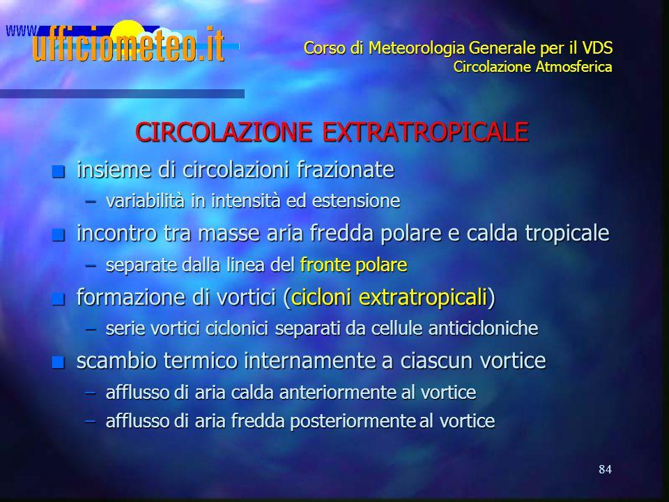 84 Corso di Meteorologia Generale per il VDS Circolazione Atmosferica CIRCOLAZIONE EXTRATROPICALE n insieme di circolazioni frazionate –variabilità in