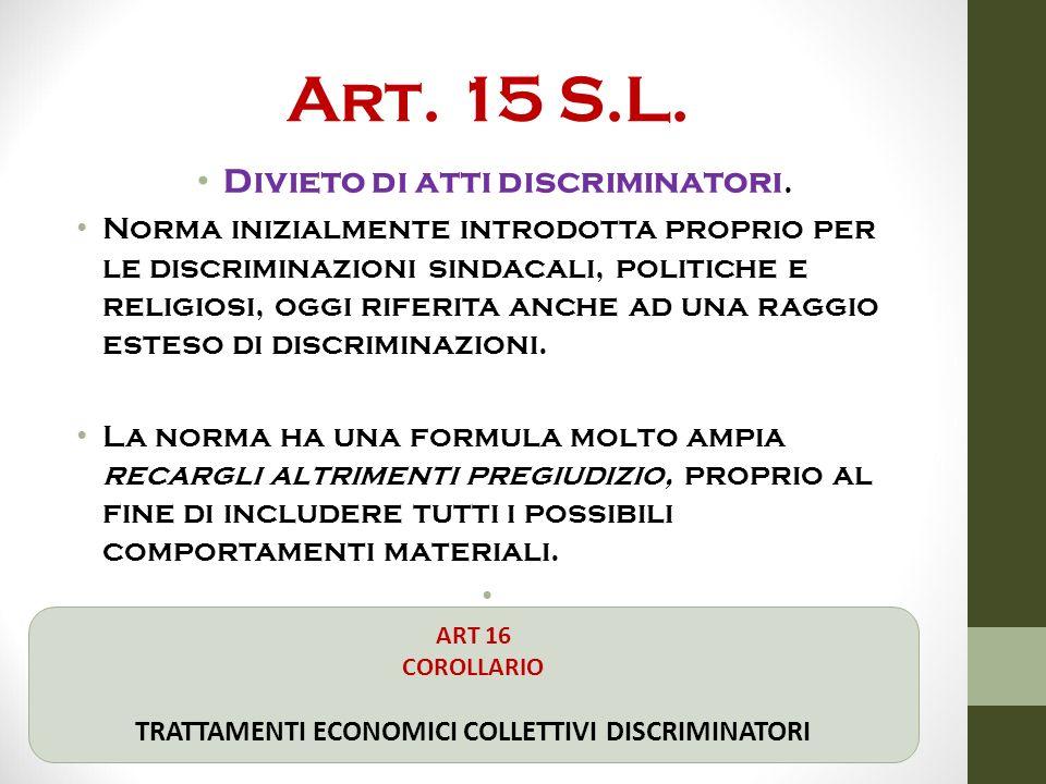 Art. 15 S.L. Divieto di atti discriminatori. Norma inizialmente introdotta proprio per le discriminazioni sindacali, politiche e religiosi, oggi rifer