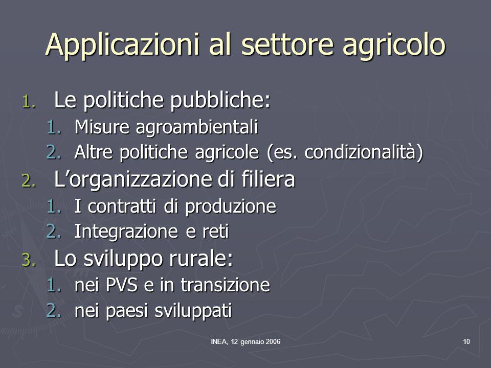 INEA, 12 gennaio 200610 Applicazioni al settore agricolo 1. Le politiche pubbliche: 1.Misure agroambientali 2.Altre politiche agricole (es. condiziona
