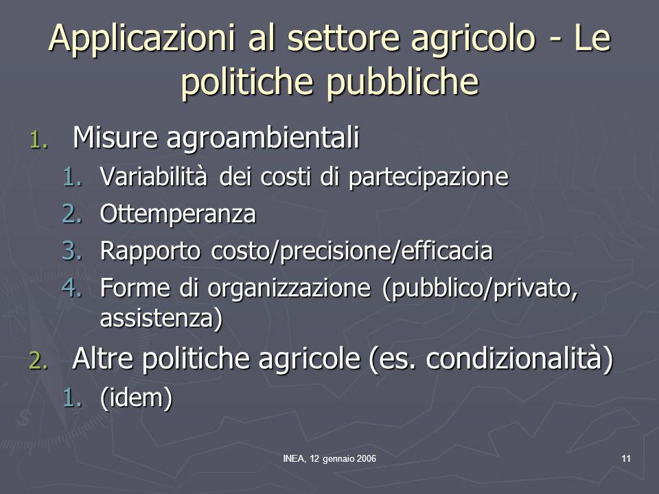 INEA, 12 gennaio 200611 Applicazioni al settore agricolo - Le politiche pubbliche 1. Misure agroambientali 1.Variabilità dei costi di partecipazione 2
