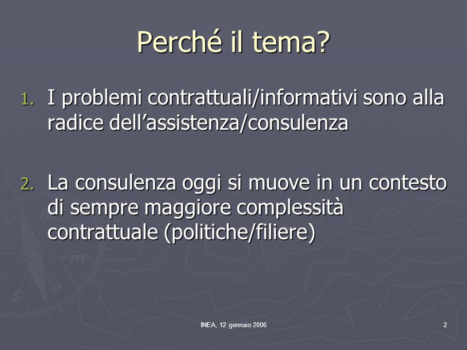 INEA, 12 gennaio 200633 Risposte al problema ► Differenziazione dei pagamenti per area/soggetto ► Contratti auto-selettivi ► Aste di contratti