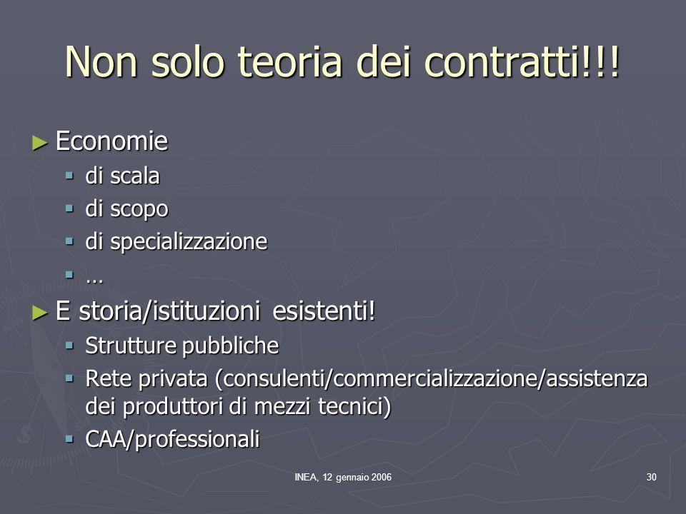 INEA, 12 gennaio 200630 Non solo teoria dei contratti!!! ► Economie  di scala  di scopo  di specializzazione  … ► E storia/istituzioni esistenti!