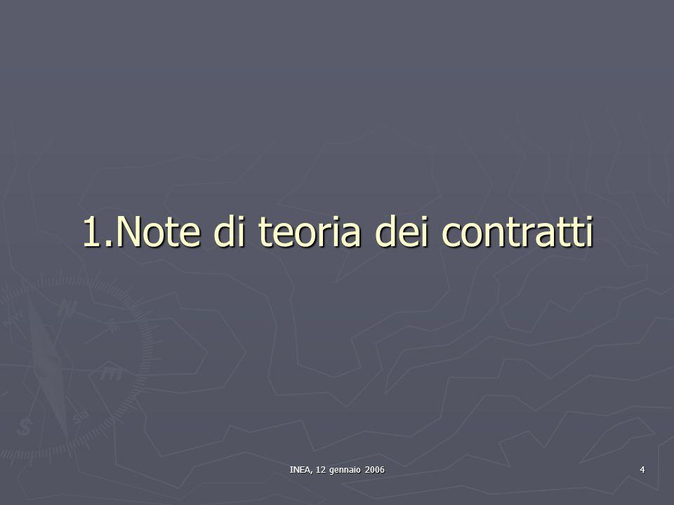 INEA, 12 gennaio 2006 4 1.Note di teoria dei contratti