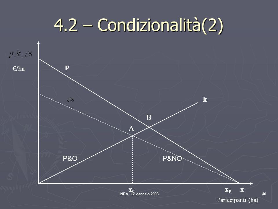 INEA, 12 gennaio 200640 p k xCxC xPxP x Partecipanti (ha) A B €/ha 4.2 – Condizionalità(2) P&OP&NO