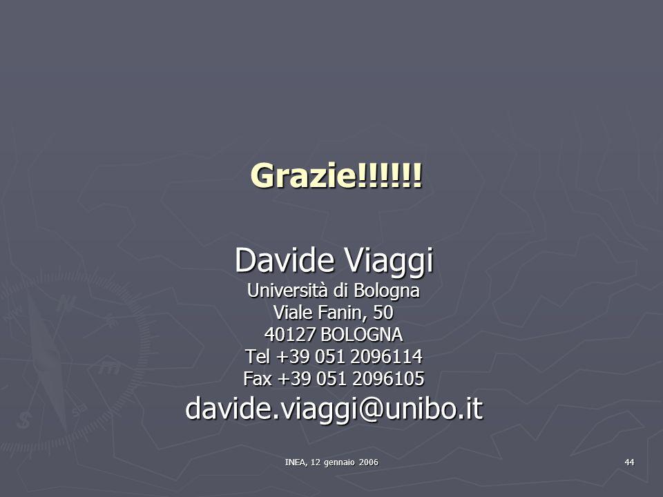 INEA, 12 gennaio 2006 44 Grazie!!!!!! Davide Viaggi Università di Bologna Viale Fanin, 50 40127 BOLOGNA Tel +39 051 2096114 Fax +39 051 2096105 davide