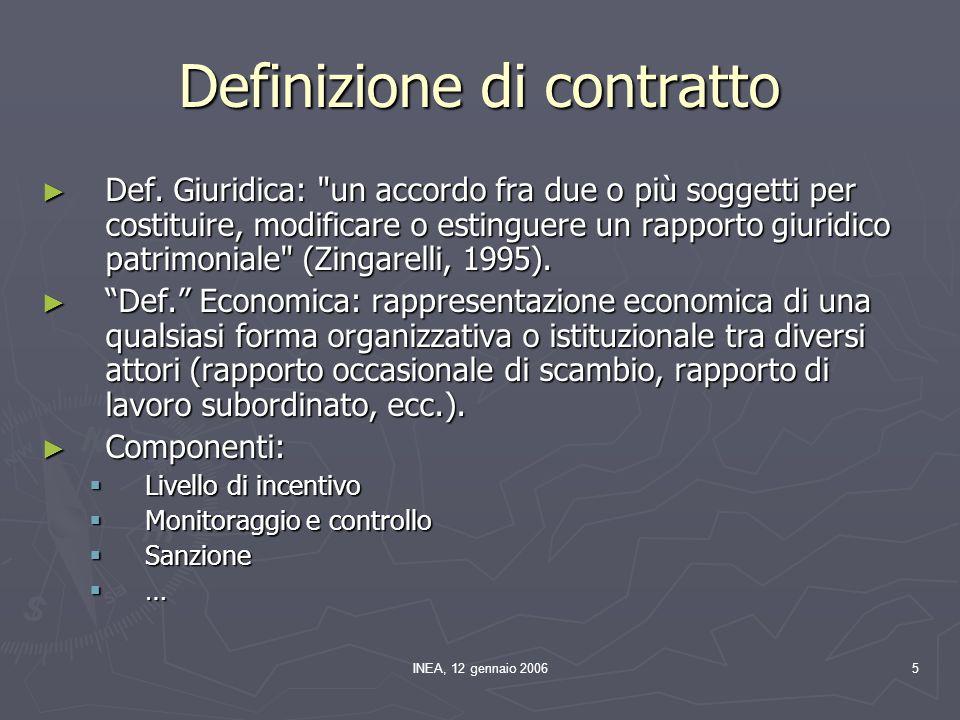 INEA, 12 gennaio 200626 Ma quali sono gli obiettivi dei principali.
