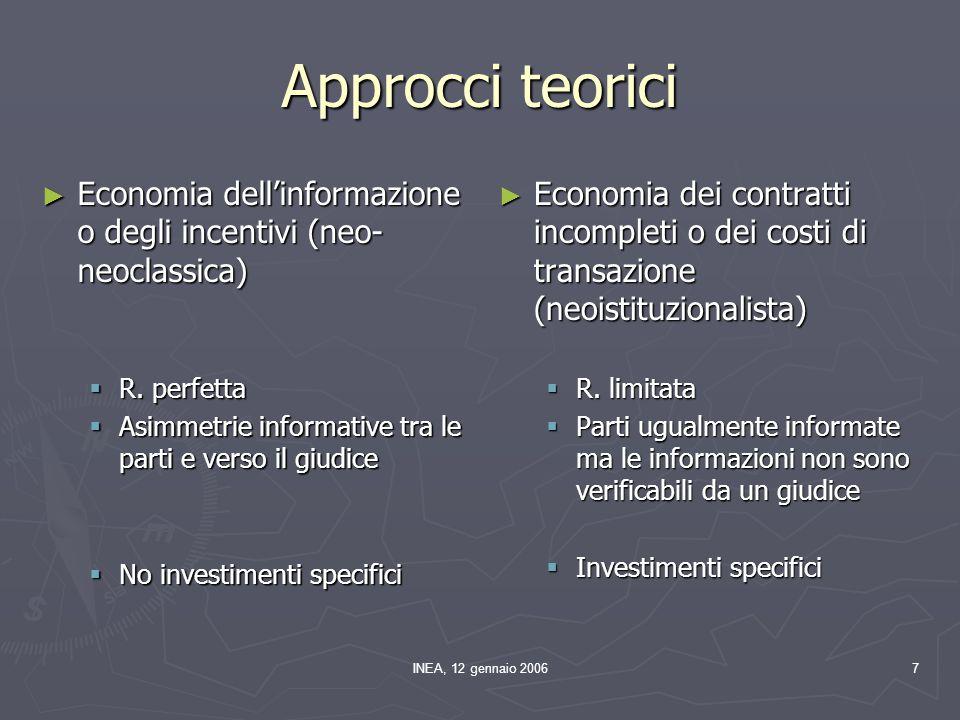 INEA, 12 gennaio 20067 Approcci teorici ► Economia dell'informazione o degli incentivi (neo- neoclassica)  R. perfetta  Asimmetrie informative tra l