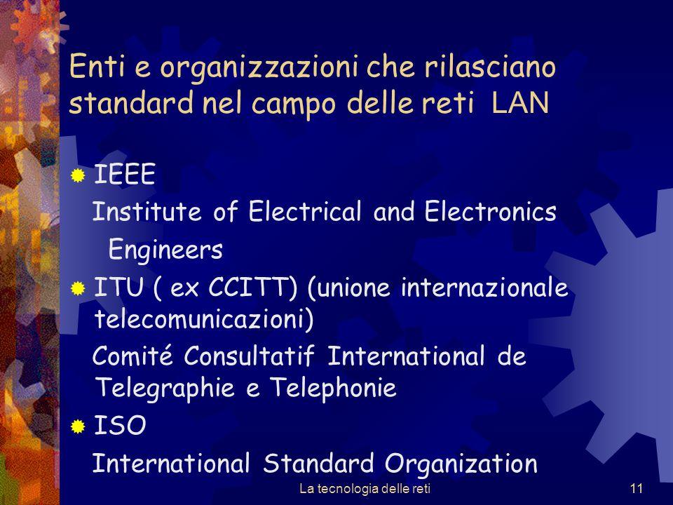 11 Enti e organizzazioni che rilasciano standard nel campo delle reti LAN  IEEE Institute of Electrical and Electronics Engineers  ITU ( ex CCITT) (