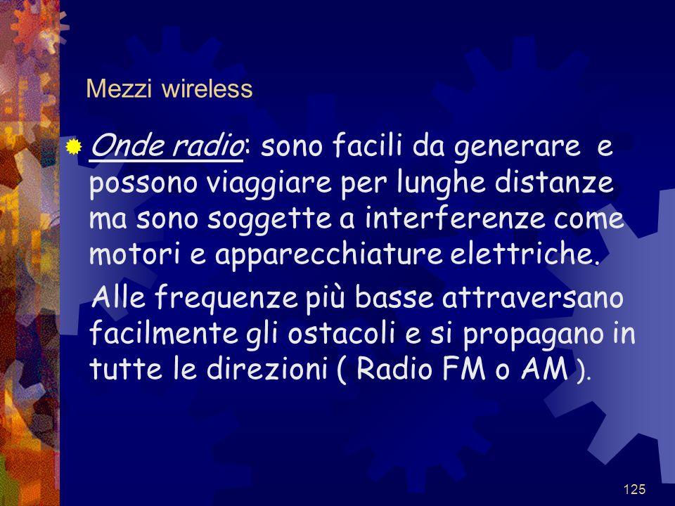 125 Mezzi wireless  Onde radio: sono facili da generare e possono viaggiare per lunghe distanze ma sono soggette a interferenze come motori e apparec
