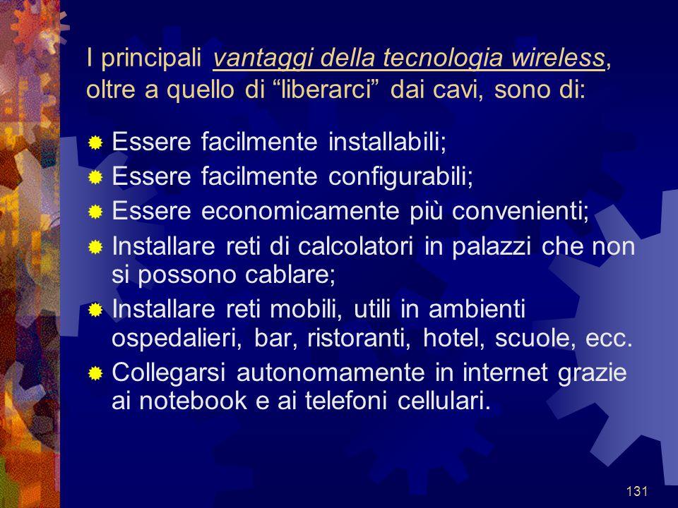 """131 I principali vantaggi della tecnologia wireless, oltre a quello di """"liberarci"""" dai cavi, sono di:  Essere facilmente installabili;  Essere facil"""