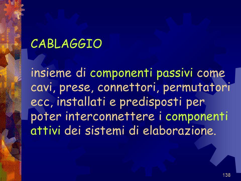 138 CABLAGGIO insieme di componenti passivi come cavi, prese, connettori, permutatori ecc, installati e predisposti per poter interconnettere i compon