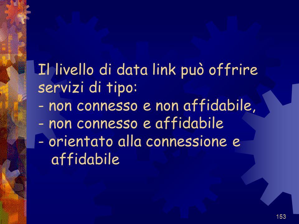 153 Il livello di data link può offrire servizi di tipo: - non connesso e non affidabile, - non connesso e affidabile - orientato alla connessione e a