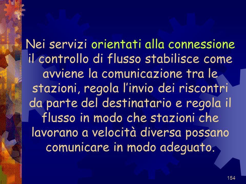 154 Nei servizi orientati alla connessione il controllo di flusso stabilisce come avviene la comunicazione tra le stazioni, regola l'invio dei riscont