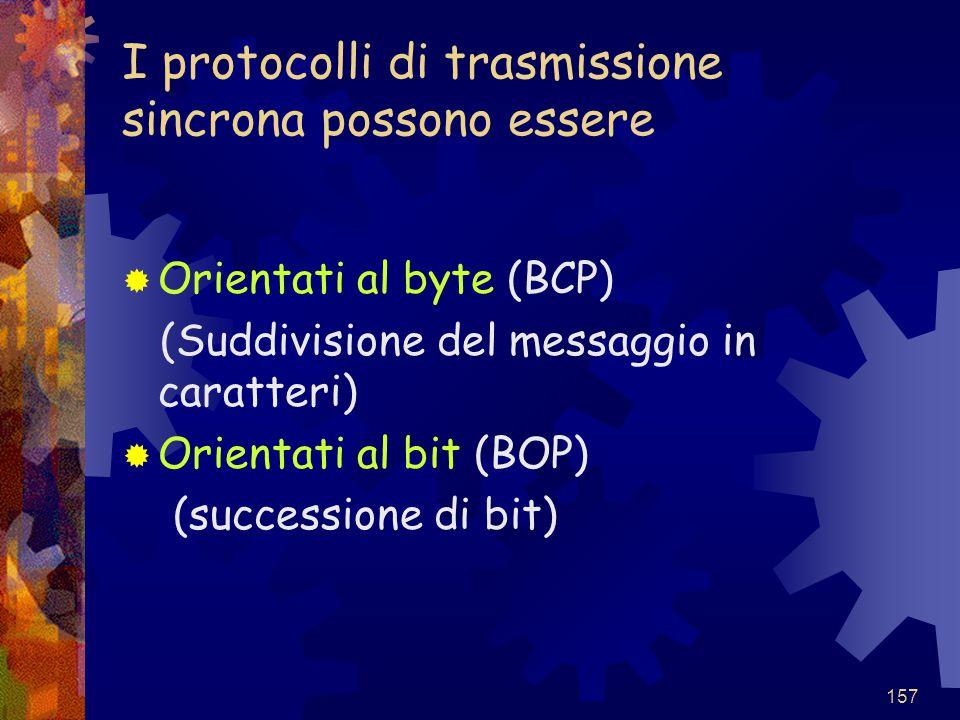157 I protocolli di trasmissione sincrona possono essere  Orientati al byte (BCP) (Suddivisione del messaggio in caratteri)  Orientati al bit (BOP)