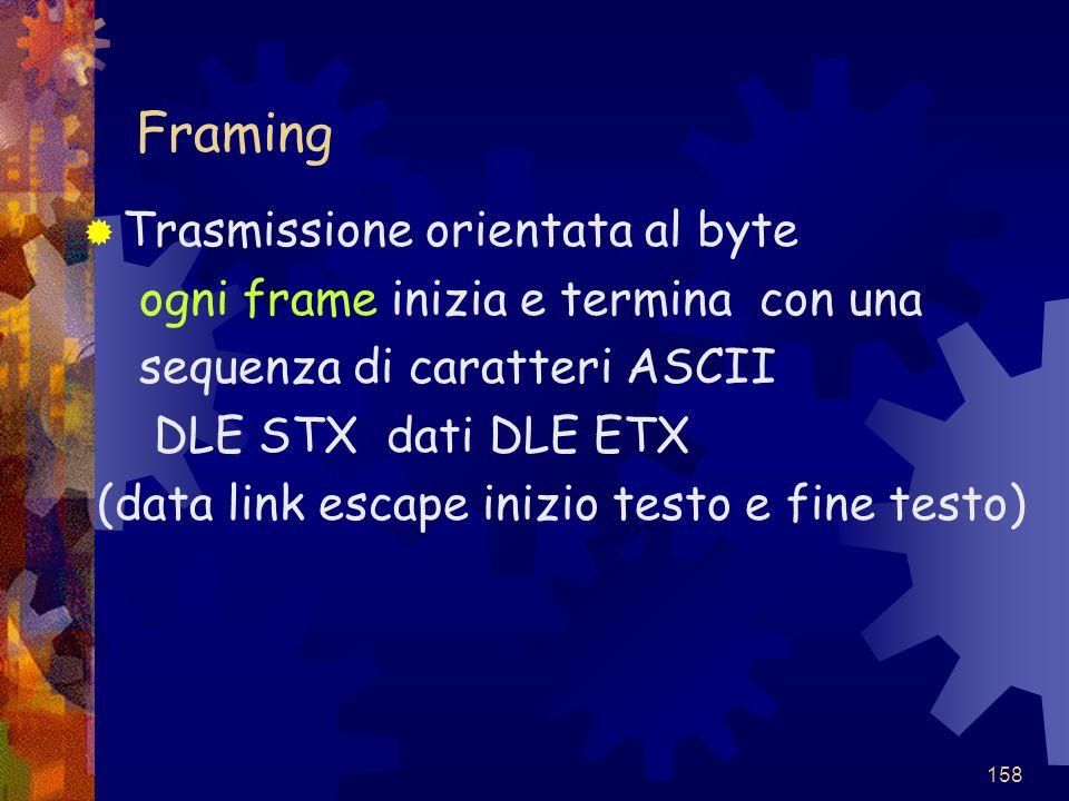 158 Framing  Trasmissione orientata al byte ogni frame inizia e termina con una sequenza di caratteri ASCII DLE STX dati DLE ETX (data link escape in