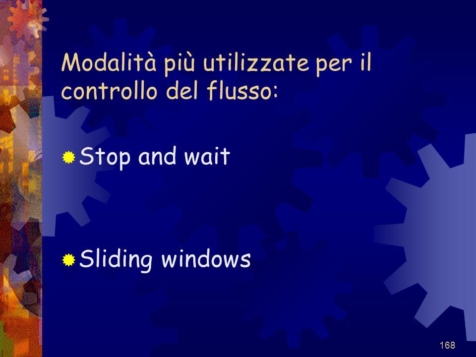 168 Modalità più utilizzate per il controllo del flusso:  Stop and wait  Sliding windows