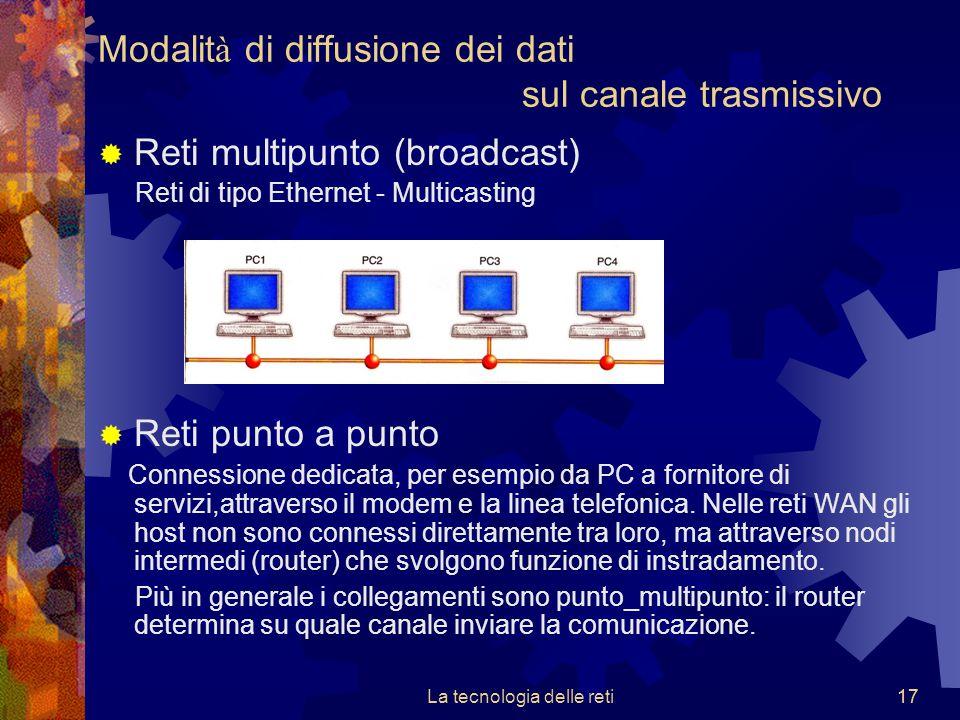 17La tecnologia delle reti17  Reti multipunto (broadcast) Reti di tipo Ethernet - Multicasting  Reti punto a punto Connessione dedicata, per esempio