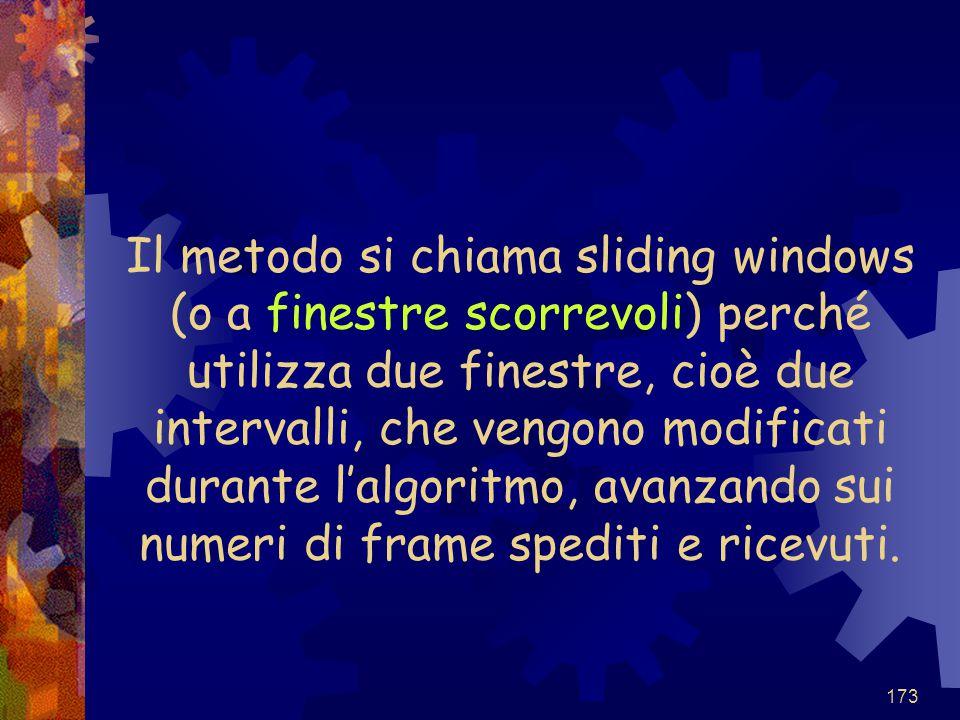 173 Il metodo si chiama sliding windows (o a finestre scorrevoli) perché utilizza due finestre, cioè due intervalli, che vengono modificati durante l'