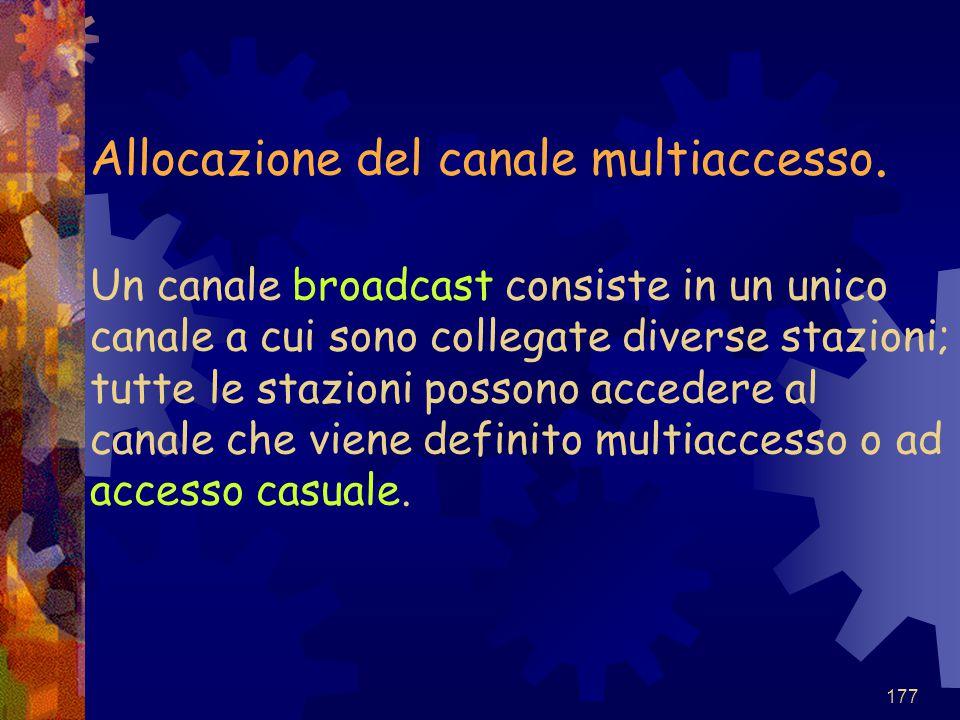 177 Allocazione del canale multiaccesso. Un canale broadcast consiste in un unico canale a cui sono collegate diverse stazioni; tutte le stazioni poss