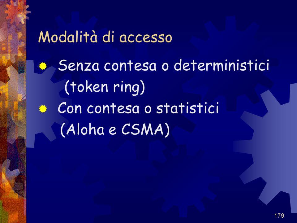 179 Modalità di accesso  Senza contesa o deterministici (token ring)  Con contesa o statistici (Aloha e CSMA)