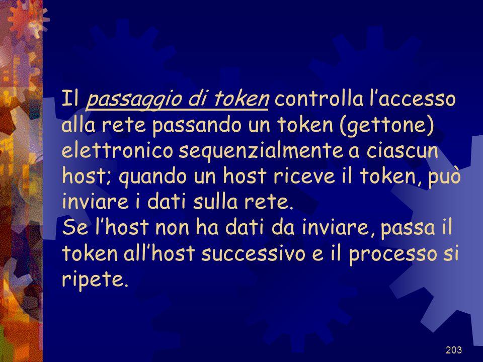 203 Il passaggio di token controlla l'accesso alla rete passando un token (gettone) elettronico sequenzialmente a ciascun host; quando un host riceve