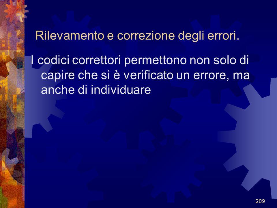 209 Rilevamento e correzione degli errori. I codici correttori permettono non solo di capire che si è verificato un errore, ma anche di individuare
