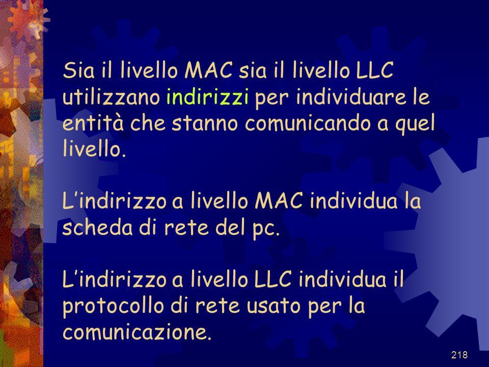 218 Sia il livello MAC sia il livello LLC utilizzano indirizzi per individuare le entità che stanno comunicando a quel livello. L'indirizzo a livello