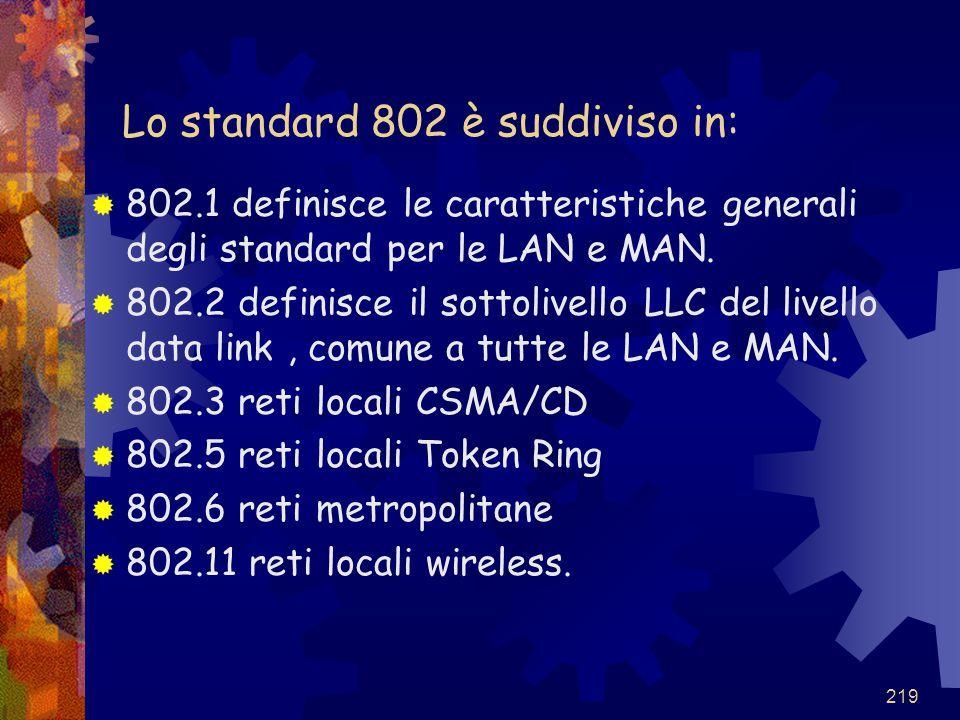 219 Lo standard 802 è suddiviso in:  802.1 definisce le caratteristiche generali degli standard per le LAN e MAN.  802.2 definisce il sottolivello L