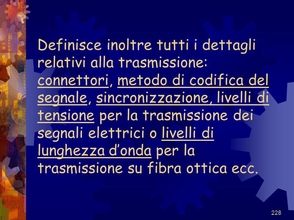 228 Definisce inoltre tutti i dettagli relativi alla trasmissione: connettori, metodo di codifica del segnale, sincronizzazione, livelli di tensione p