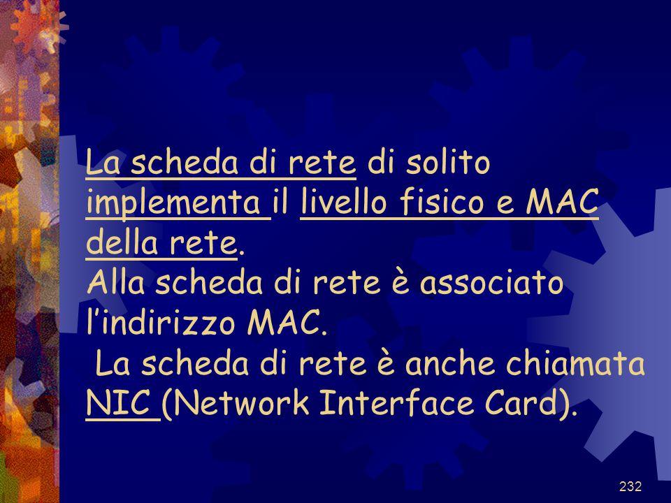 232 La scheda di rete di solito implementa il livello fisico e MAC della rete. Alla scheda di rete è associato l'indirizzo MAC. La scheda di rete è an
