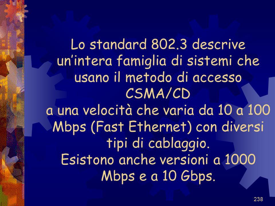 238 Lo standard 802.3 descrive un'intera famiglia di sistemi che usano il metodo di accesso CSMA/CD a una velocità che varia da 10 a 100 Mbps (Fast Et