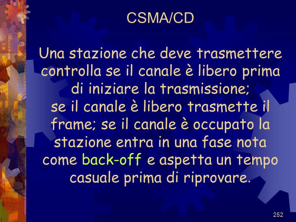 252 CSMA/CD Una stazione che deve trasmettere controlla se il canale è libero prima di iniziare la trasmissione; se il canale è libero trasmette il fr