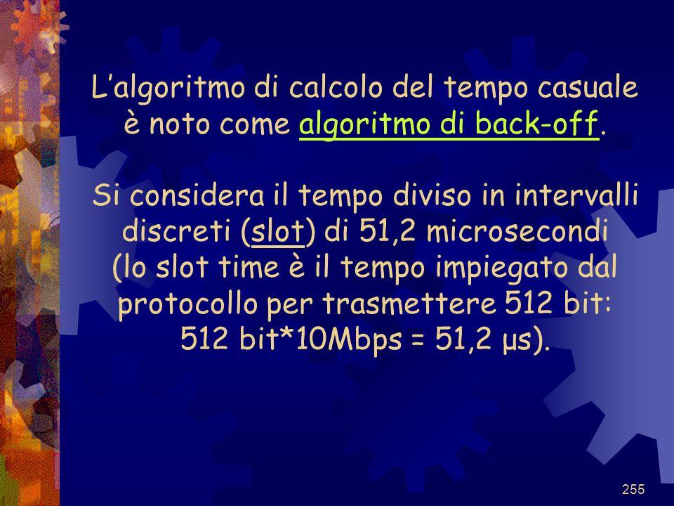 255 L'algoritmo di calcolo del tempo casuale è noto come algoritmo di back-off. Si considera il tempo diviso in intervalli discreti (slot) di 51,2 mic
