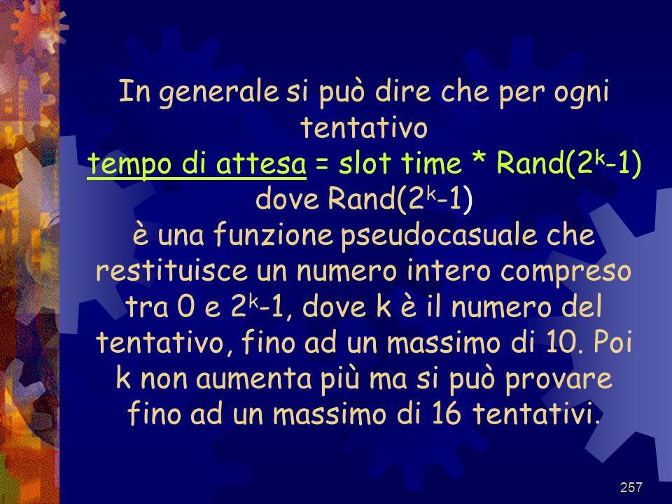 257 In generale si può dire che per ogni tentativo tempo di attesa = slot time * Rand(2 k -1) dove Rand(2 k -1) è una funzione pseudocasuale che resti
