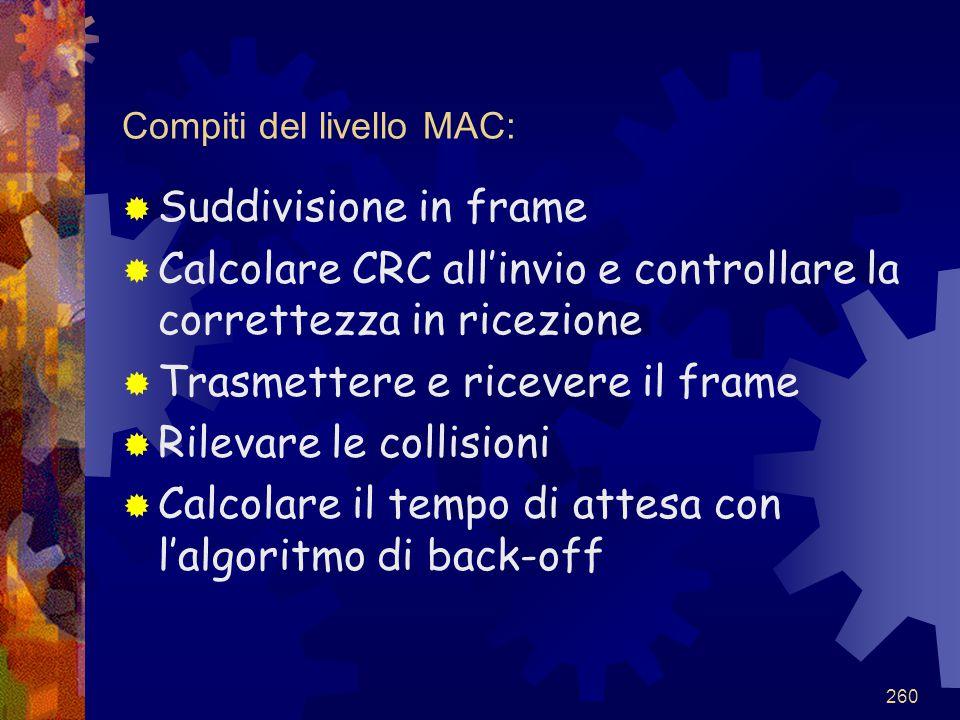 260 Compiti del livello MAC:  Suddivisione in frame  Calcolare CRC all'invio e controllare la correttezza in ricezione  Trasmettere e ricevere il f