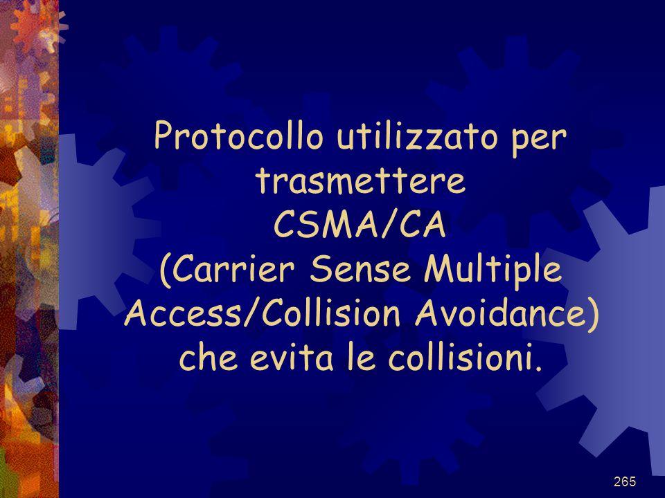 265 Protocollo utilizzato per trasmettere CSMA/CA (Carrier Sense Multiple Access/Collision Avoidance) che evita le collisioni.