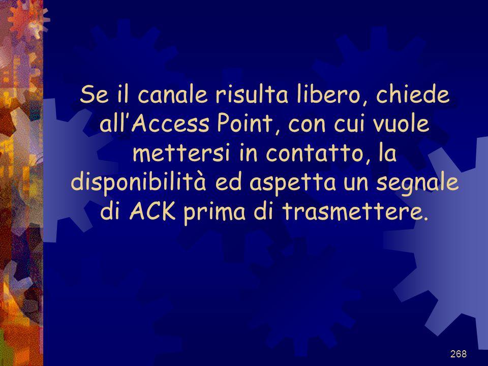 268 Se il canale risulta libero, chiede all'Access Point, con cui vuole mettersi in contatto, la disponibilità ed aspetta un segnale di ACK prima di t