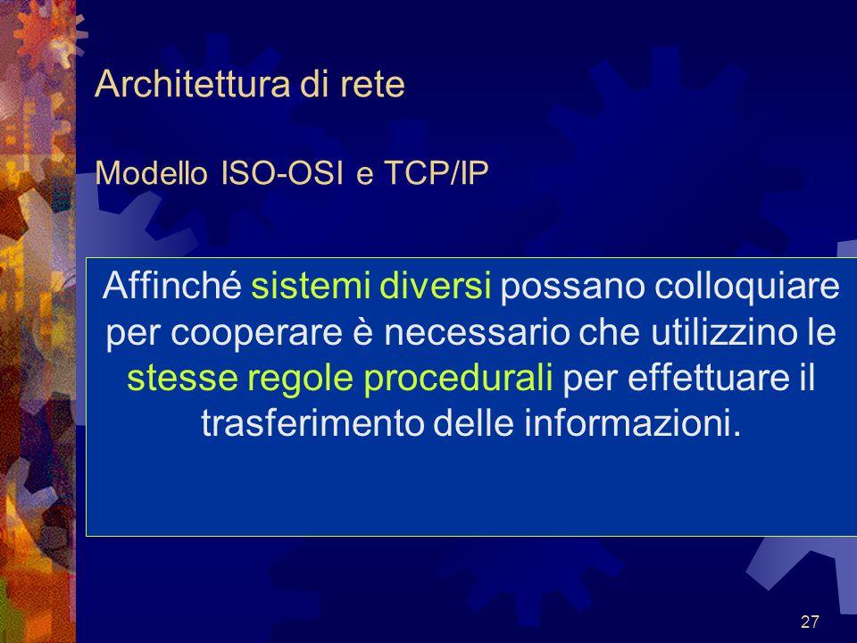 27 Architettura di rete Modello ISO-OSI e TCP/IP Affinché sistemi diversi possano colloquiare per cooperare è necessario che utilizzino le stesse rego