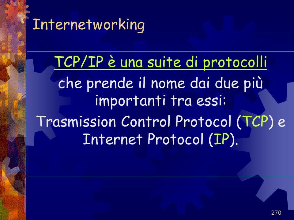 270 Internetworking TCP/IP è una suite di protocolli che prende il nome dai due più importanti tra essi: Trasmission Control Protocol (TCP) e Internet