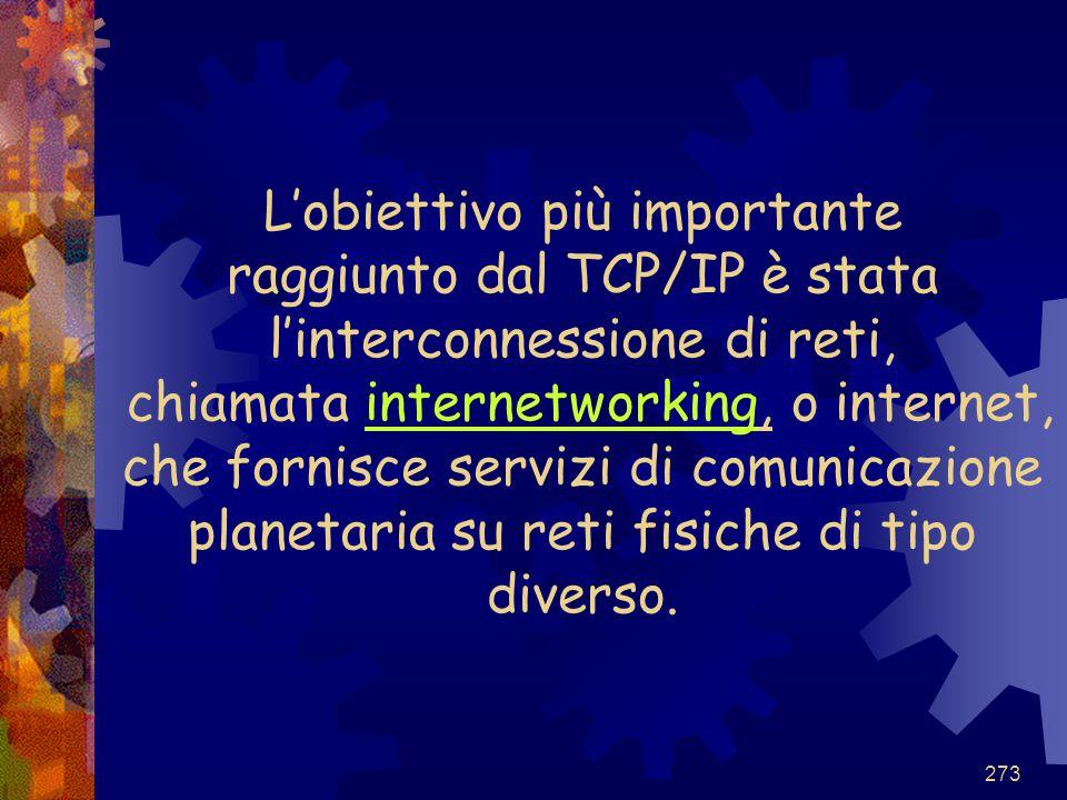 273 L'obiettivo più importante raggiunto dal TCP/IP è stata l'interconnessione di reti, chiamata internetworking, o internet, che fornisce servizi di