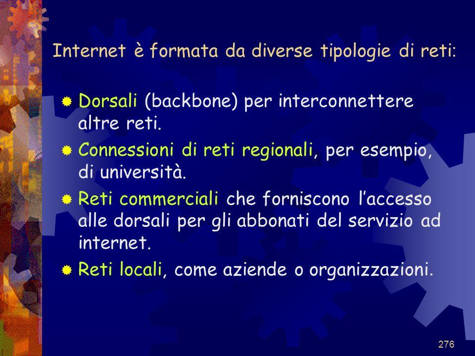 276 Internet è formata da diverse tipologie di reti :  Dorsali (backbone) per interconnettere altre reti.  Connessioni di reti regionali, per esempi