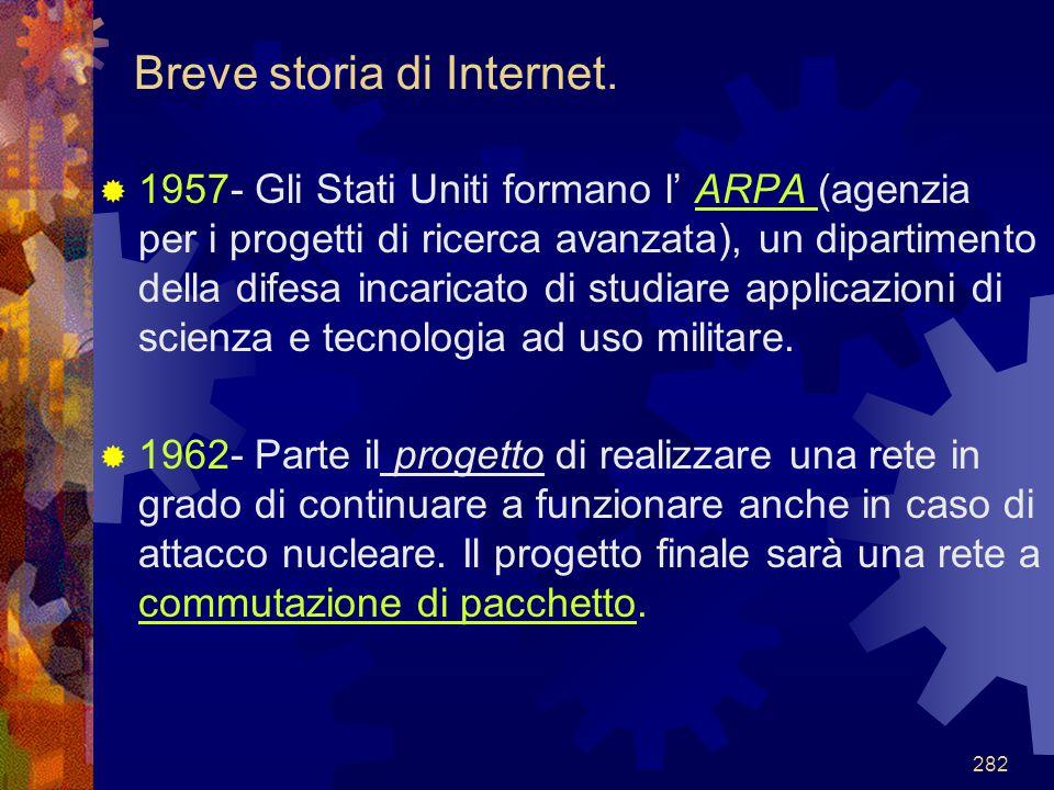 282 Breve storia di Internet.  1957- Gli Stati Uniti formano l' ARPA (agenzia per i progetti di ricerca avanzata), un dipartimento della difesa incar