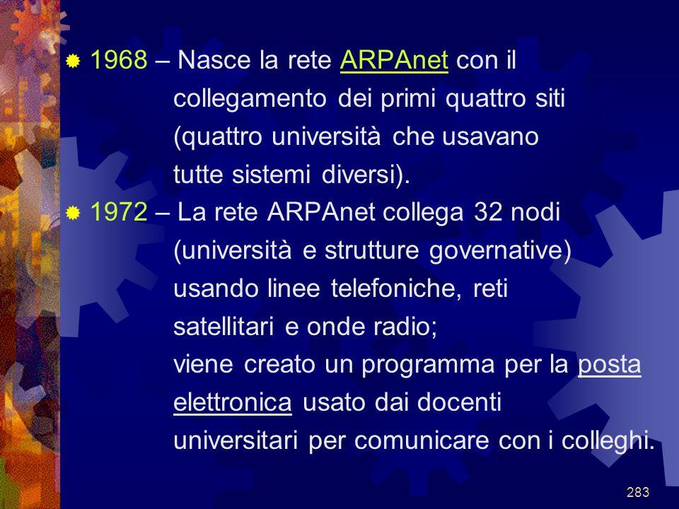 283  1968 – Nasce la rete ARPAnet con il collegamento dei primi quattro siti (quattro università che usavano tutte sistemi diversi).  1972 – La rete