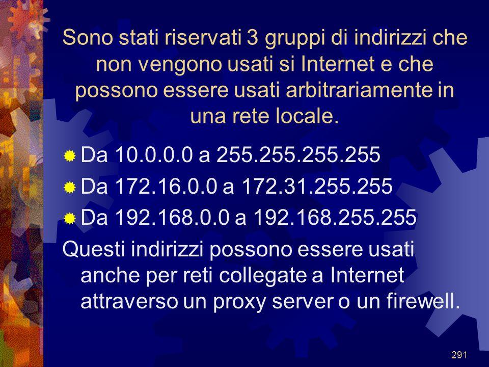 291 Sono stati riservati 3 gruppi di indirizzi che non vengono usati si Internet e che possono essere usati arbitrariamente in una rete locale.  Da 1