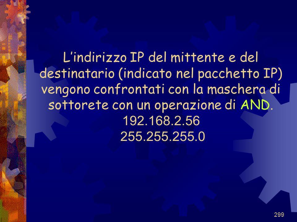 299 L'indirizzo IP del mittente e del destinatario (indicato nel pacchetto IP) vengono confrontati con la maschera di sottorete con un operazione di A